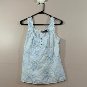 ZOEY BETTIE White and Blue Floral Print Tank